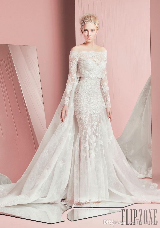 2016 Zuhair Murad Lace Wedding Dresses Watteau Long Sleeves Jacket ...