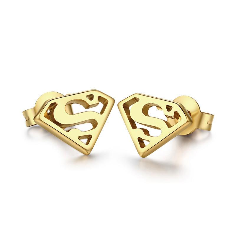 18k gold plated superman logo stud earrings stainless steel mens ...