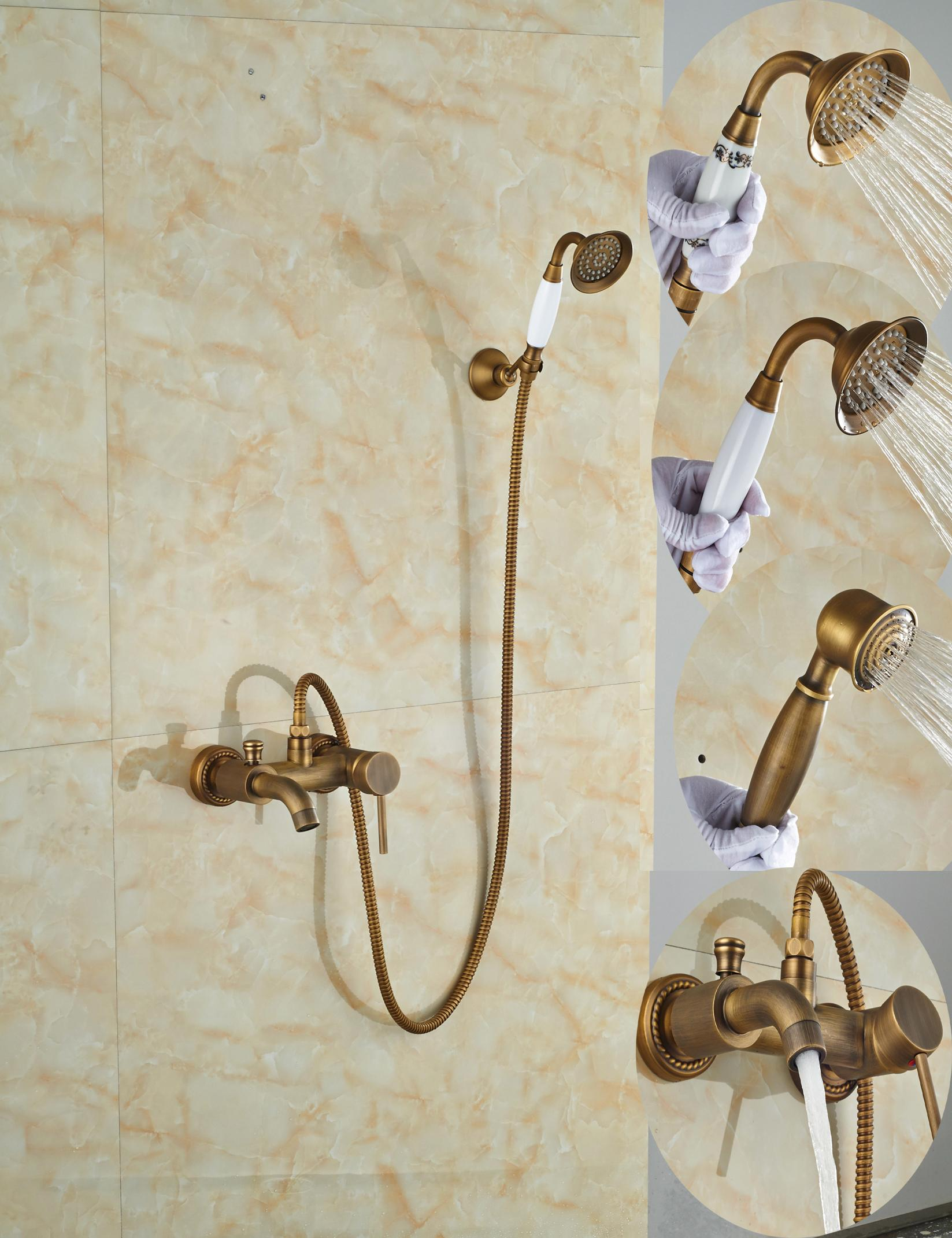 Wholesale And Retail Promotion Wall Mounted Bathroom Tub Faucet Rain Shower Hand Sprayer W/ Tub Spout Mixer Tap Antique Brass