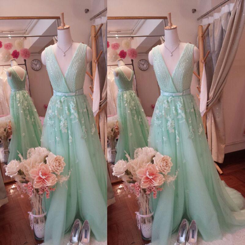 Real Picture Elie Saab Evening Gowns Stunning A Line Surplice V Neck Beading Top Appliques Soft Tulle Mint Green Prom Dresses Long