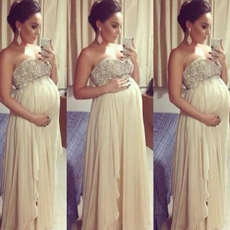 Stunning Prom Dresses for Pregnant Women Empire Crystals Beaded Top Chiffon Evening Dresses for Maternity High Quality Formal Wear