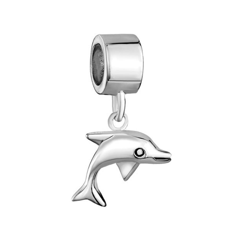 النمط الأوروبي معدن جميل قطرة الدلفين السقوط استرخى حبة الرضع سحر محظوظ يناسب باندورا سحر سوار