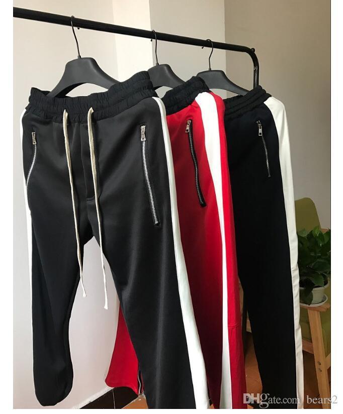 Nouveau côté Pantalon Zipper Hiphop crainte de Dieu Mode UrbanCasul Sport Bas Rouge Justin Bieber FOG Jogger Pantalon Noir Rouge Bleu Livraison gratuite