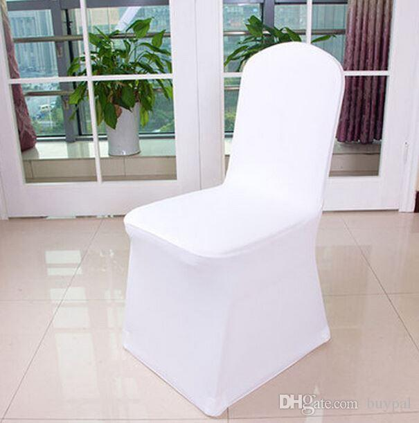 Free Shipping 100pcs Universal White Spandex Wedding Lycra Chair Covers for Wedding Banquet Hotel Decoration ,Hot Sale Wholesale 0914#14