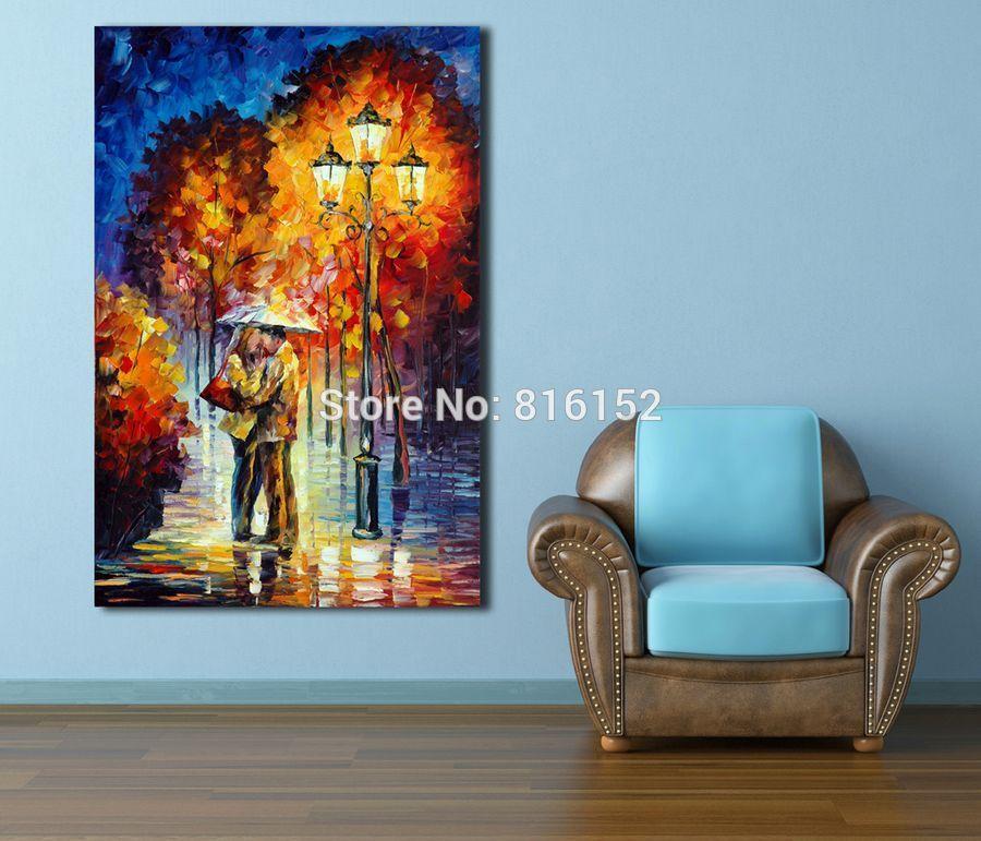 비가 아래 키스 로맨틱 애호가 - 100 % 손으로 그린 캔버스 오일 페인팅 Frameless 컬러 팔레트 벽 예술 호텔 사무실 홈 인테리어에 대한