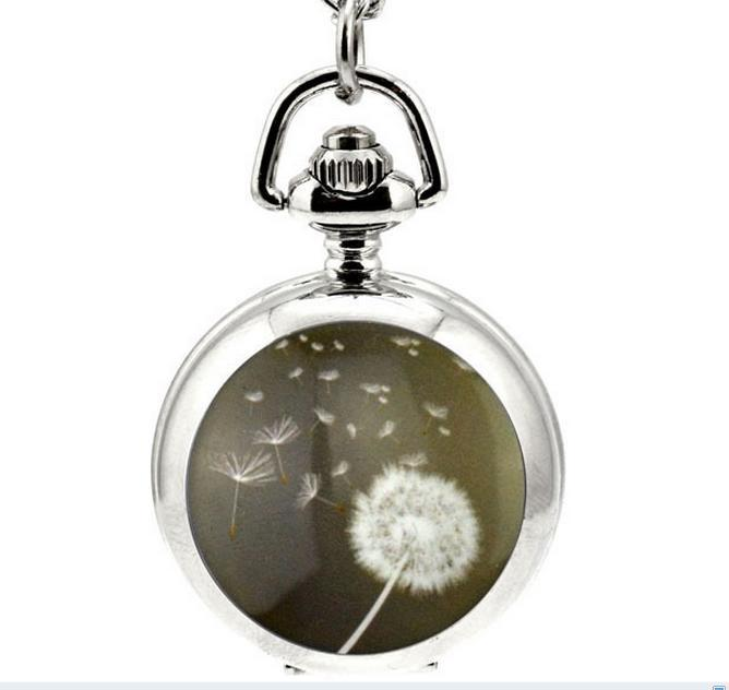 Горячие продажи уникальный дизайн мода одуванчик эмаль белая сталь кварц женщина ожерелье цепь карманные часы