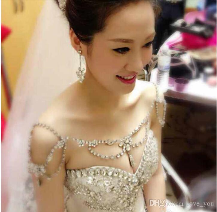 Simple Style Epaulet Silver Crystal Rhinestone Shining Shoulder Necklace Epaulet Jacket Wedding Bridal Dresses Jewelry Wedding Jewelry Bracelets