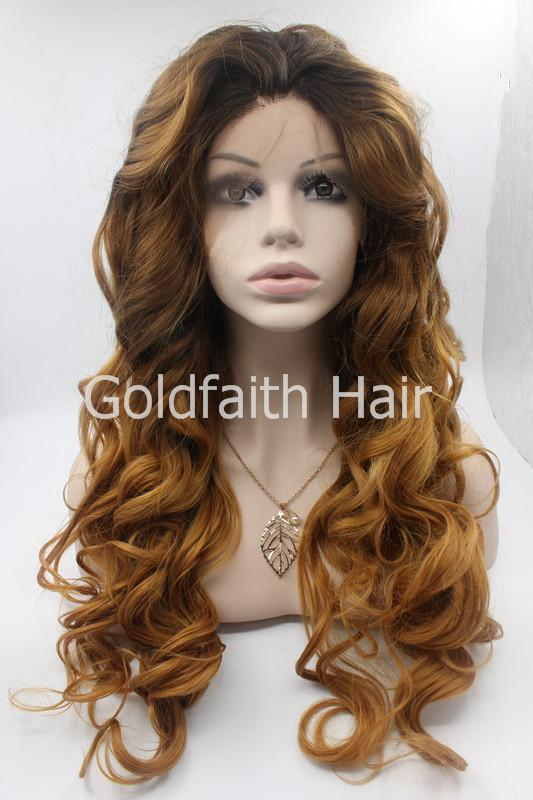 SF5 Cheap Wavy Blond Synthetic Lace Front Wig Glueless Ombre Kanekalon Celebrity Front Lace Wig Blonde