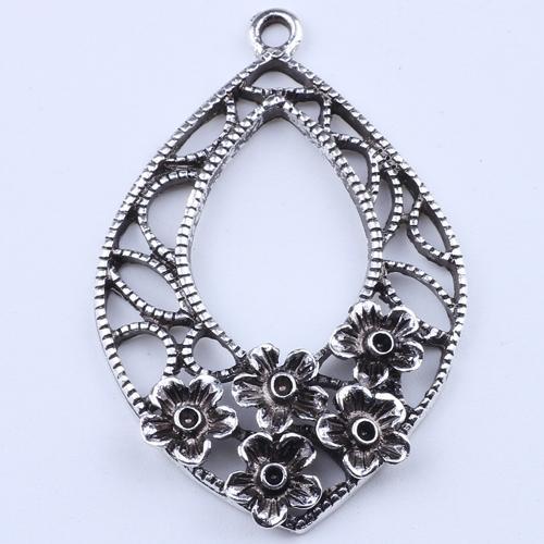 2016 DIY jóias de prata Retro Flores pingente oval decorativo Multielement pingente fit Colar ou Pulseiras 30 pçs / lote 1962c