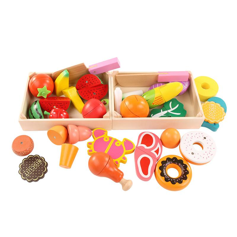 2019 Wooden Kitchen Toys Cutting Fruit Vegetable Play Miniature Food Kids  Wooden Baby Early Education Food Toys From Justokay, $23.36 | DHgate.Com