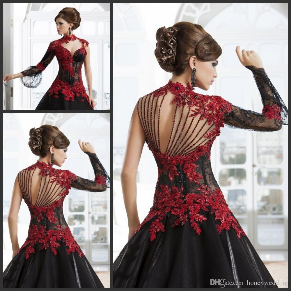 Masquerade High Neck Red Lace A Line Black Tulle Bridal Gowns Arabic Wedding Dresses With Sheer Long Sleeves Quinceanera Ball Gown