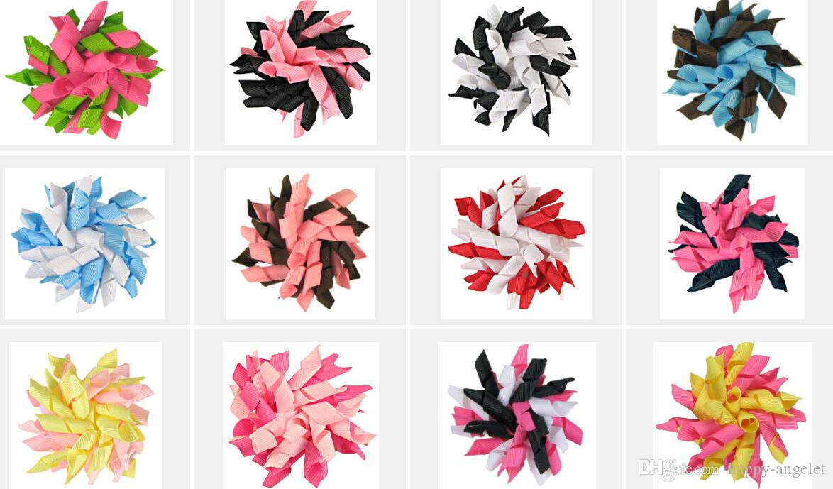 free shipping 100pcs 3.5 inches korker bows to mix hundreds of color corker hair clip colorful Children's curlers bows flowers PD007