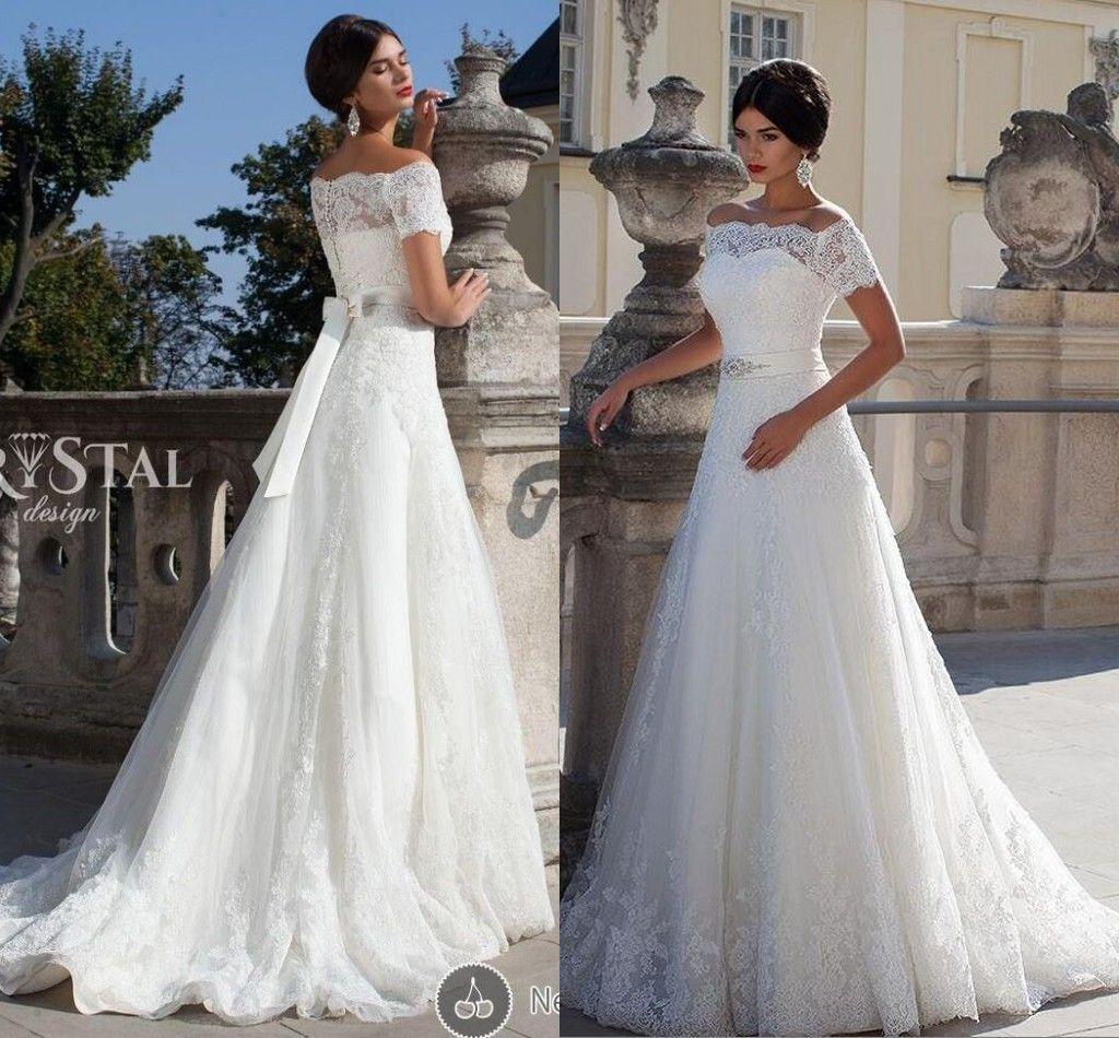 Elegante 2019 del cordón blanco Boho una línea vestidos de boda Off-hombro vestidos de novia más el tamaño de tren de la corte de manga corta vestidos de boda para las novias