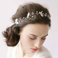 LuxuriousHoney European Style Bridal Hair Jewelry Accessories Silver Leaf and Crystal Headband