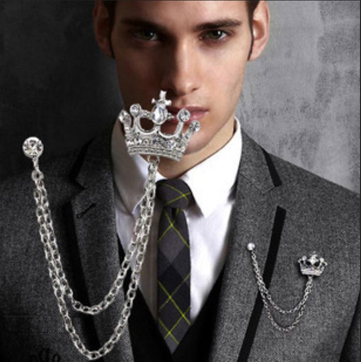 Homem atacado de moda Broches Jóias Sparkly Rhinestone Vintage Cristal Diamante Crown casamento Pins Homens smoking ternos Pin Broche