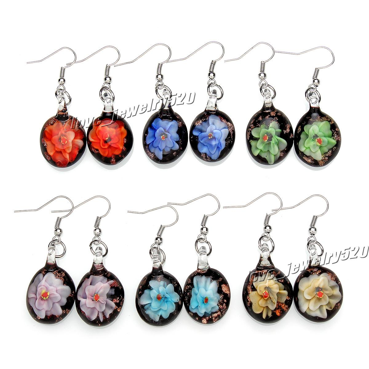 Fashin wholesale 6Pairs handmade mix color Italian Gold sand Round 3D Flower Lampwork murano glass Earrings Free shipping