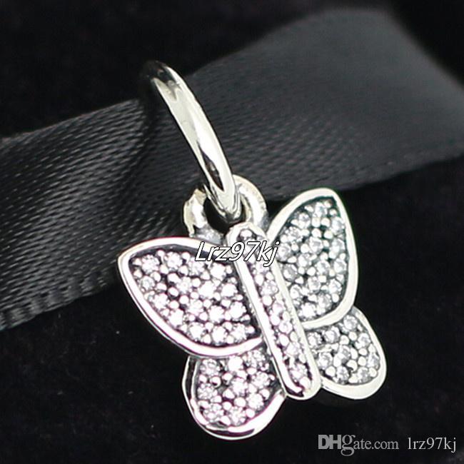 Cz ile 100% 925 Ayar Gümüş Kelebek Dangle Boncuk Avrupa Pandora Takı Bilezikler Kolye Kolye Uyar
