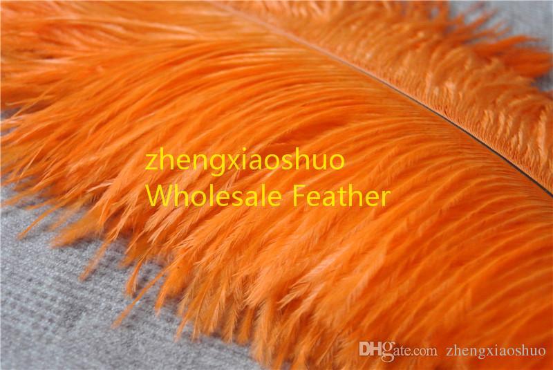 wholesale 100pcs/lot 14-16inch 35-40cm orange Ostrich Feather Plumes for Wedding centerpiece christmas decoraction wedding feather decor