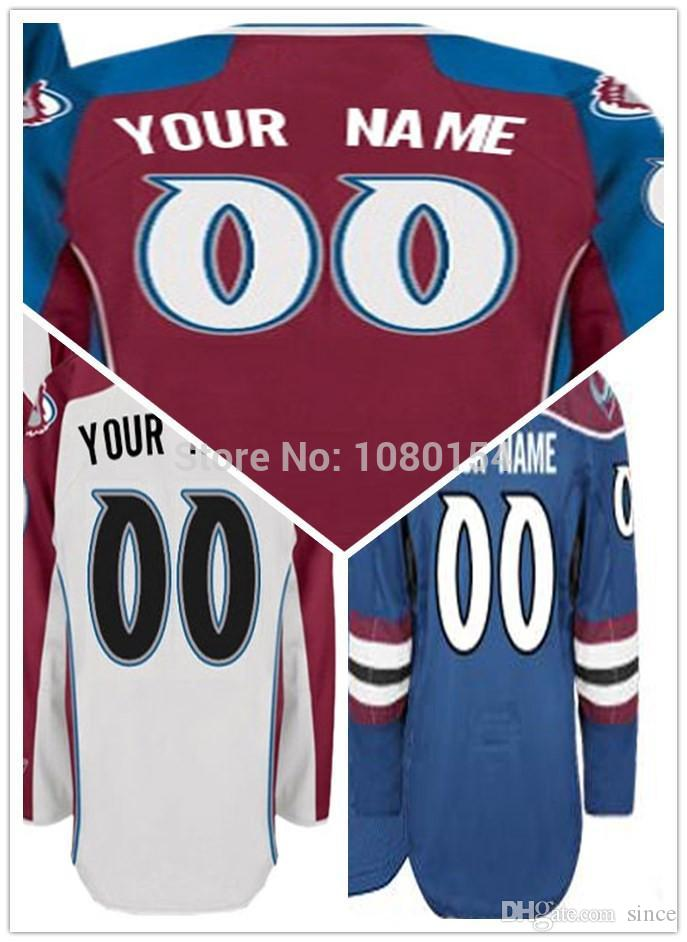 2016 New, Custom Ice Hockey Jerseys 2014 Colorado Red White Blue 100% Stitched Best Quality Customized Your Name Number Hockey Shirt C