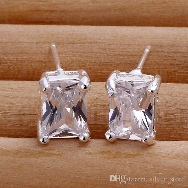 브랜드의 새로운 스털링 실버 플레이트 사각형 다이아몬드 귀에 땡 - 화이트 헤드 SE098, 여성 925 실버 매달려 샹들리에 귀걸이 10쌍 많은
