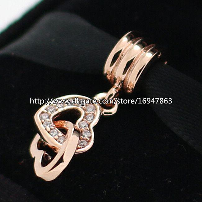 100% S925 Sterling Silber und Rose Gold plattiert ineinandergreifende Liebe Charm Bead passt europäischen Pandora Schmuck Armbänder Halsketten Anhänger