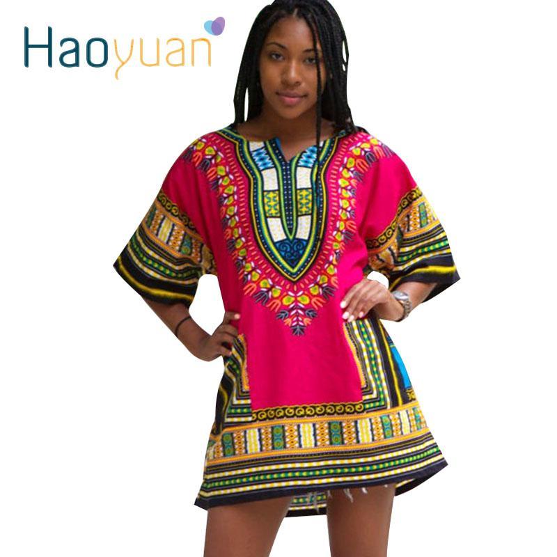 Dashiki Elbise 2017 Afrika Kadın Geleneksel Baskı Dashiki Kısa Kollu Bazin Riche T-shirt Giyim Afrika Elbiseler Kadınlar Için q1110