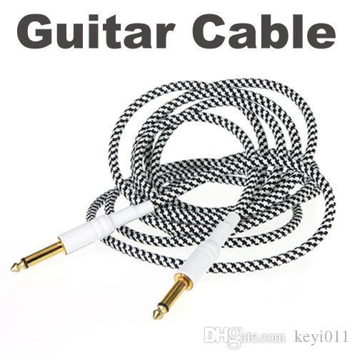 3 M / 10FT Preto Branco Pano Trançado Tweed Guitar Cable Cord