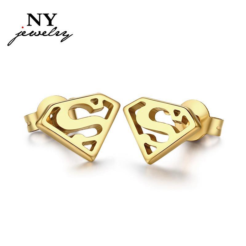 Bonito 18 k banhado a ouro brincos para as mulheres homens superman jóias de aço inoxidável ouvido nunca ferrugem
