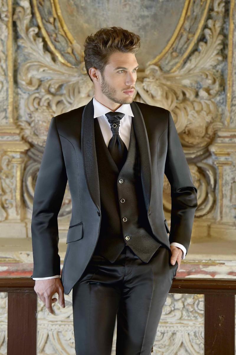 Tuta da uomo su misura con scialle in smoking personalizzata Tuta da uomo con risvolto in gilet nero / Abiti da sposo (giacca + pantaloni + cravatta + gilet)
