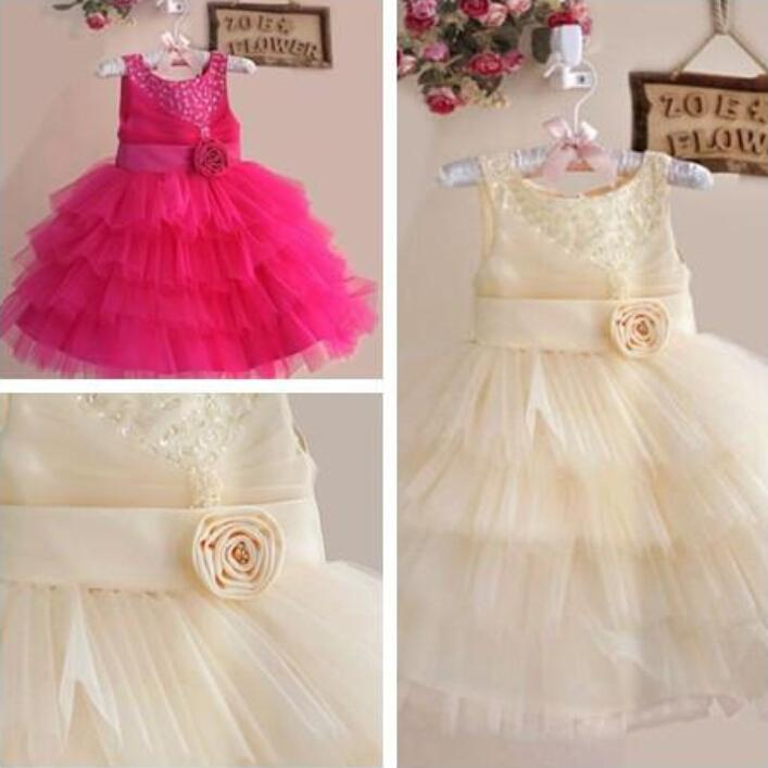 Basit Çiçek Kız 'Elbiseler Boncuklu El Yapımı Çiçek Rhinestone Jewel Balo Kolsuz Ayak Bileği Uzunlukta