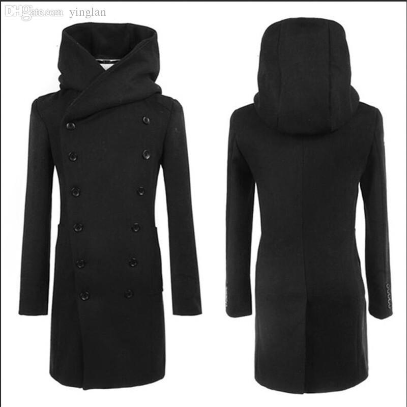 가을 - 2015 패션 염가 Mens Pea Coat 후드 더블 브레스트 롱 모닝 트렌치 코트 오버 코트, 그레이 블랙 네이비 블루, 플러스 사이즈 3XL