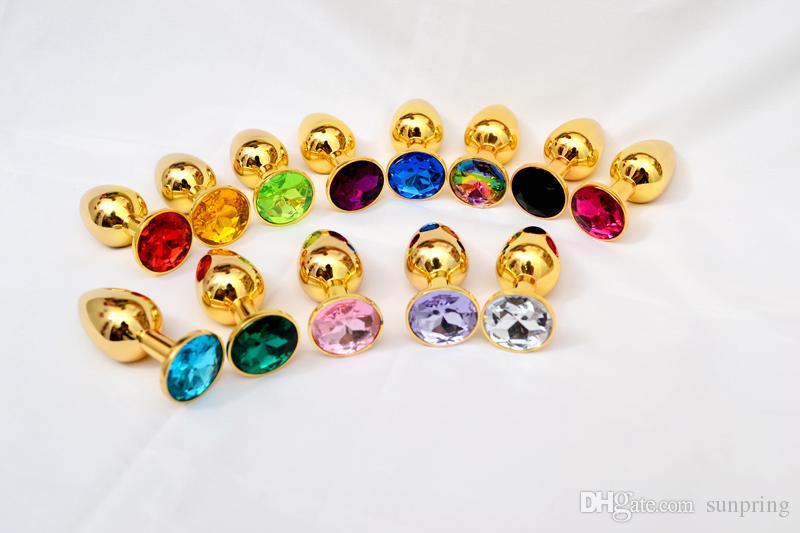 Goldmetallmini-anales Spielzeug, Kolben-Stecker, Booty bördelt Sex-Spielzeug-Edelstahl-Kristallschmucksache-Sex-Spielzeug-kleine 72 * 28mm Farben durch DHL 100pcs / lot