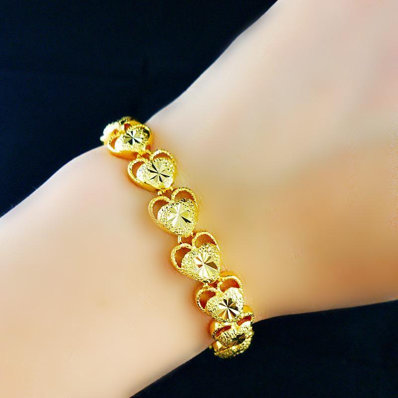 Snel Gratis Verzending Fijne Real 24K Gouden Armband Speciale Aanbieding Breedte: 10 mm Lengte: 21cm Gewicht: 15g
