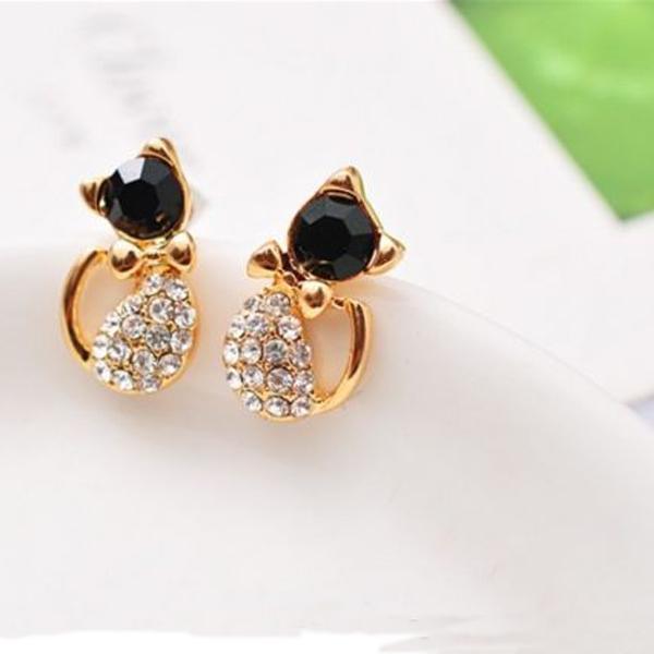 1 par de aretes de diamantes de imitación de cristal con forma de gato de niña de niña Nuevo