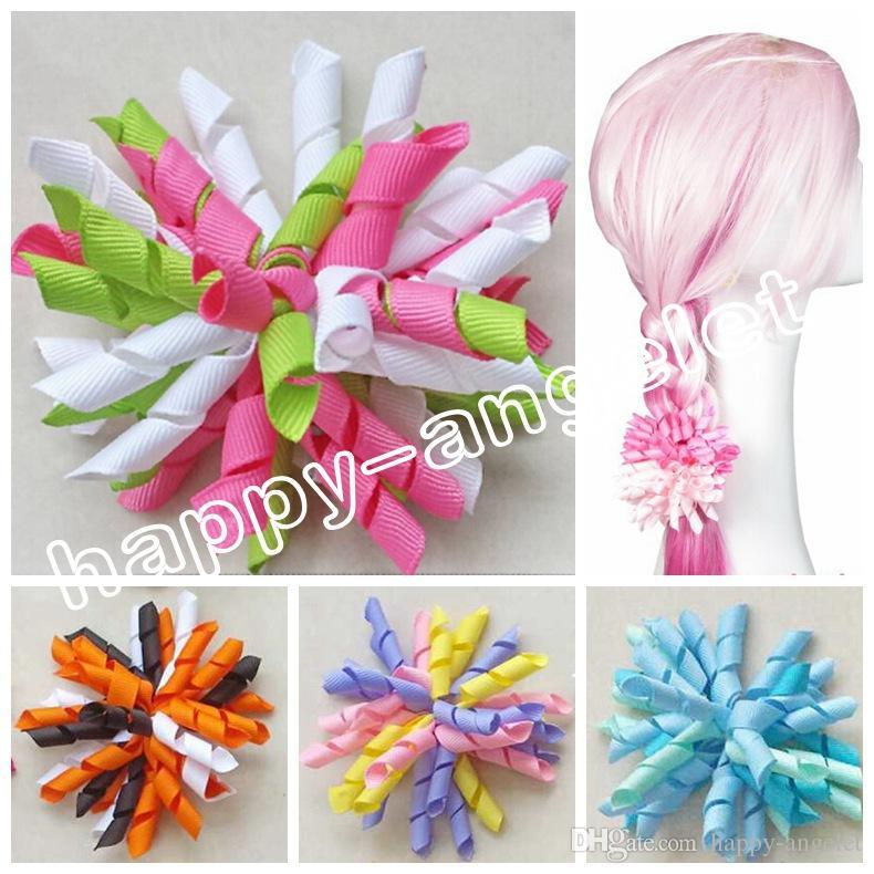 "Girl 4"" korker Hair bows clips curly grosgrain ribbon ponytail Corker satin hairband flowers bobbles hair ties elastic headband 50pcs PD007"