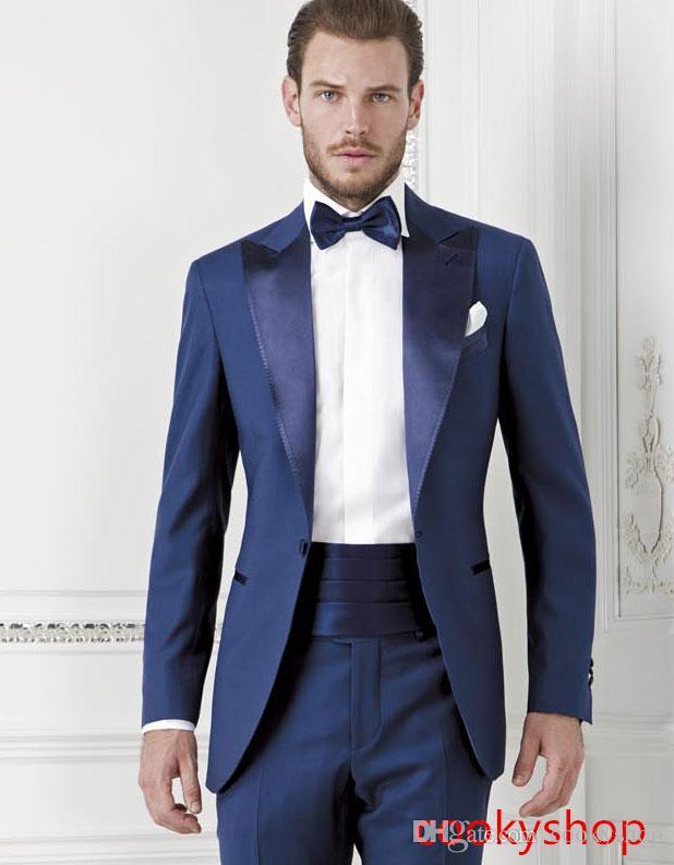 2021 وسيم الأزرق الداكن العريس tuexdos مخصص سليم صالح رفقاء رهم الرجال الدعاوى الزفاف حفلة موسيقية الرسمية البدلات الرسمية (سترة + بنطلون