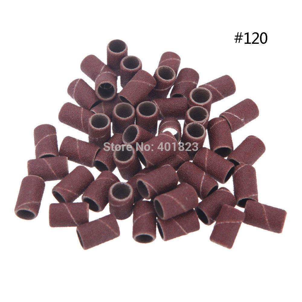 Freeshipping 1000pcs / Pack Nail Art Levigatura bande per la manicure Pedicure Nail Drill Machine Sandpaper Grit # 120 Strumenti per unghie