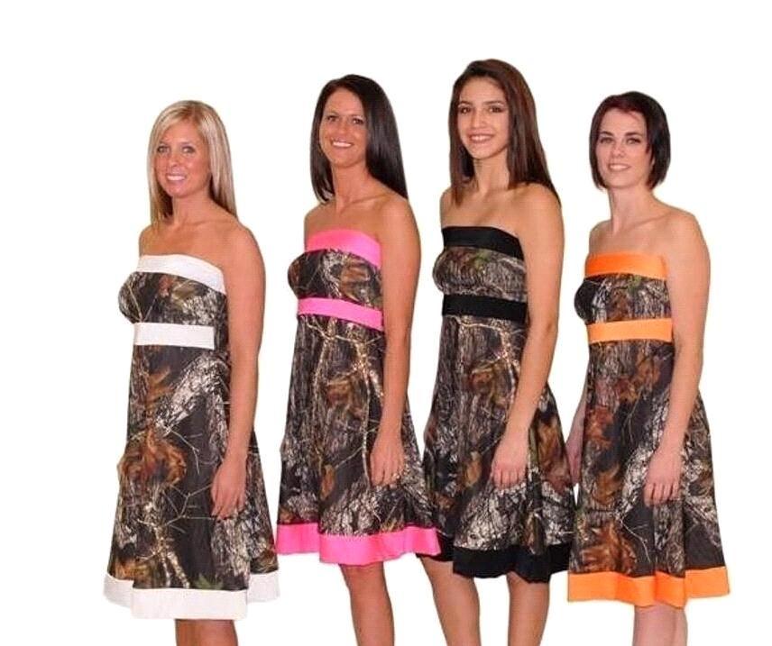 Robes De Demoiselle D'honneur Camo 2019 Bretelles Longueur Au Genou Une Ligne Courte Robes De Fête De Mariage Demoiselle D'honneur Robes Junior Robes De Bal BA1912