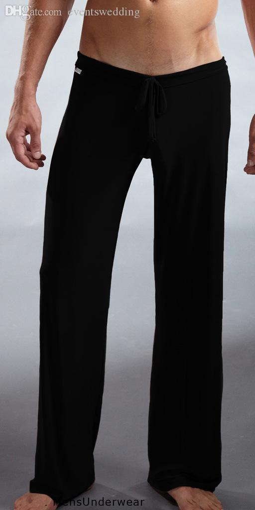 New Fashion men Sleep Bottoms America pajamas sexy yoga pants soft silk comfortable sheer nightgown trousers