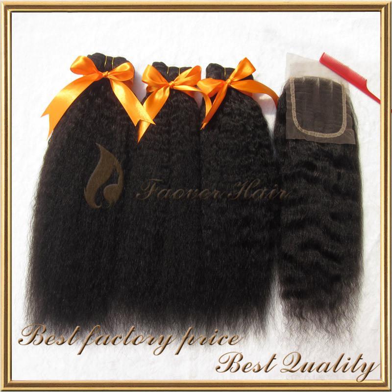 la armadura virginal brasileña gruesa recta rizada afro del pelo 3pcs del yaki grueso con 1pc longitud superior de la mezcla del cierre del cordón 1pc 8-28inch 4pcs / lot libera el envío