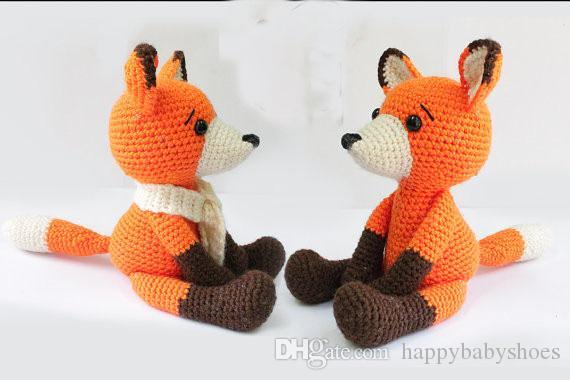 Fox Amigurumi fox Crochet Knitted Stuffed animals wild animals doll toy baby shower rattle gift