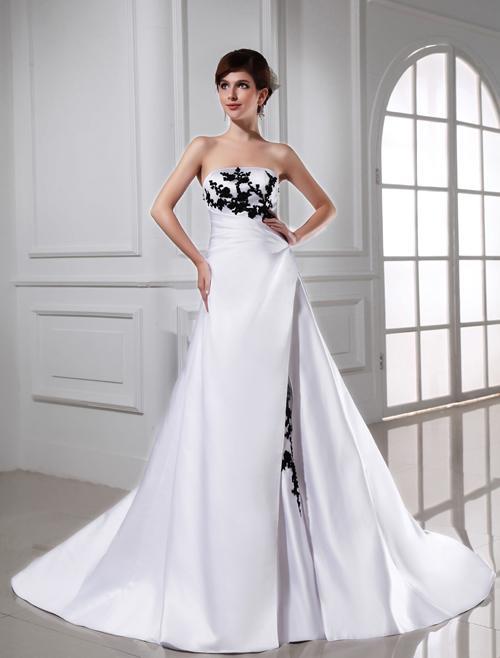 In schwarz weiß brautkleider Extravagante Brautmode,