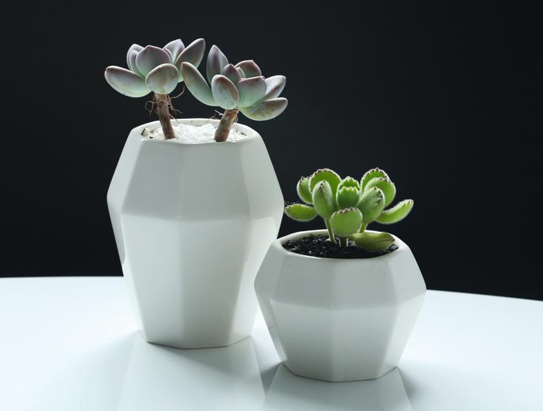 Blanc pots de fleurs en céramique jardinières décoration de la maison simple fleur de bureau vases décor