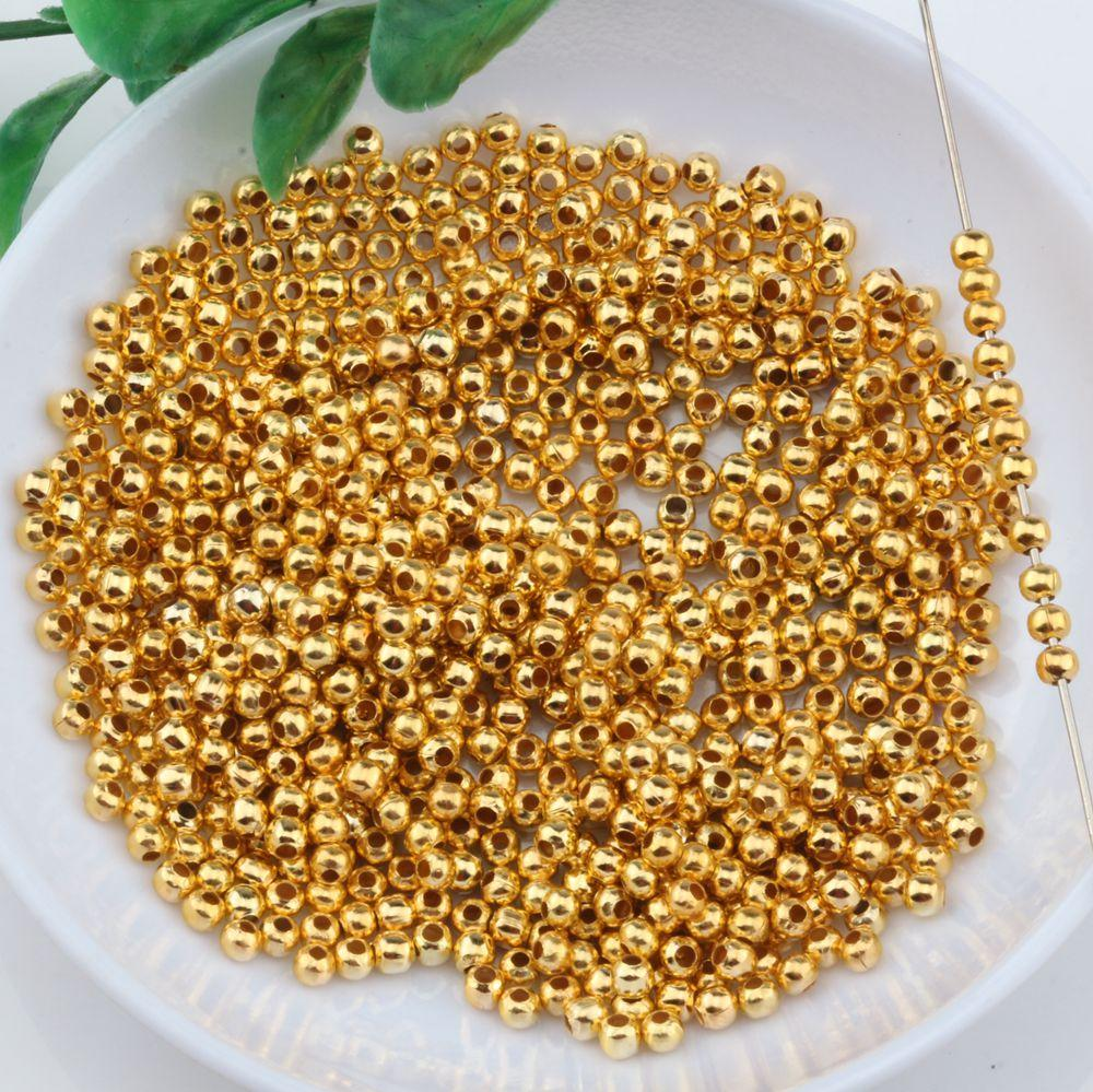 2000 stücke vergoldet metall runde spacer perlen 3mm für schmuck make armband halskette diy zubehör