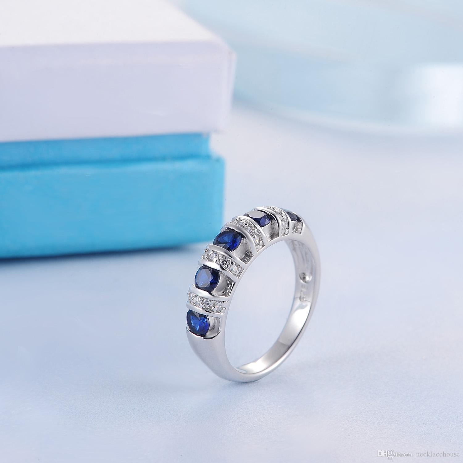 STARHARVEST 925 Sterling Silver thumb ring with blue sapphire ...
