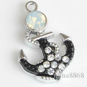 wholesale diy Anchor charm pendants for jewelry DIY metal Rhinestone Rudder charms for jewelry making Accessories Findings