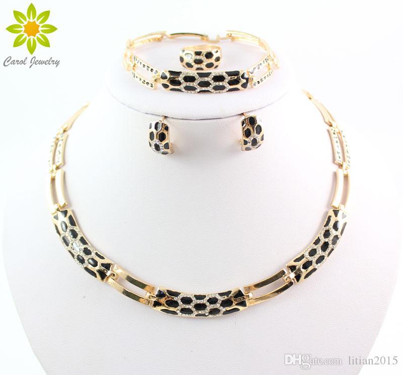 Новое Прибытие Мода Африканские Ювелирные Наборы 18 К Золото Горный Хрусталь Ожерелье Серьги Набор Свадебный Комплект Ювелирных Изделий