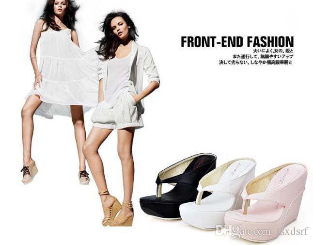 Women Thong Flip-flops Platform Wedge Heel Sandal Shoes Black Pink Whites