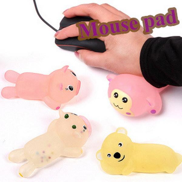 Wholesale Crystal animal bracers pad, silica gel mouse wrist palm , mouse mat cool refreshing pad free shipping 5pcs/lot order<$18no track