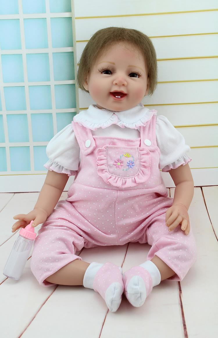 """Pinky Reborn Baby Dolls 22/"""" Realistic Smiling Cute Reborn Toddler Dolls For Kids"""